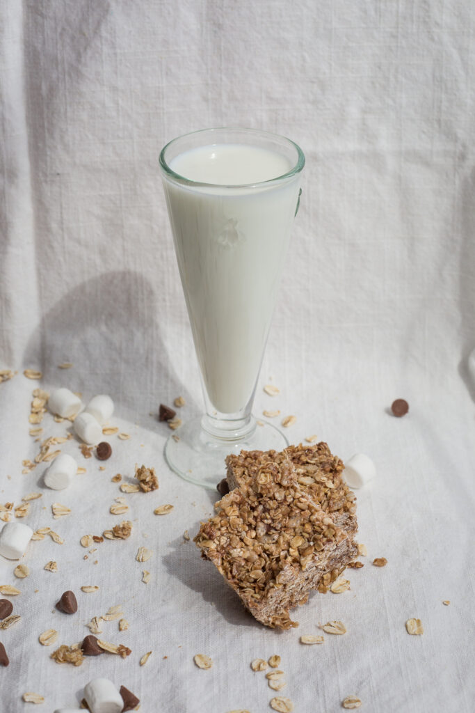 granola squares and a glass of milk