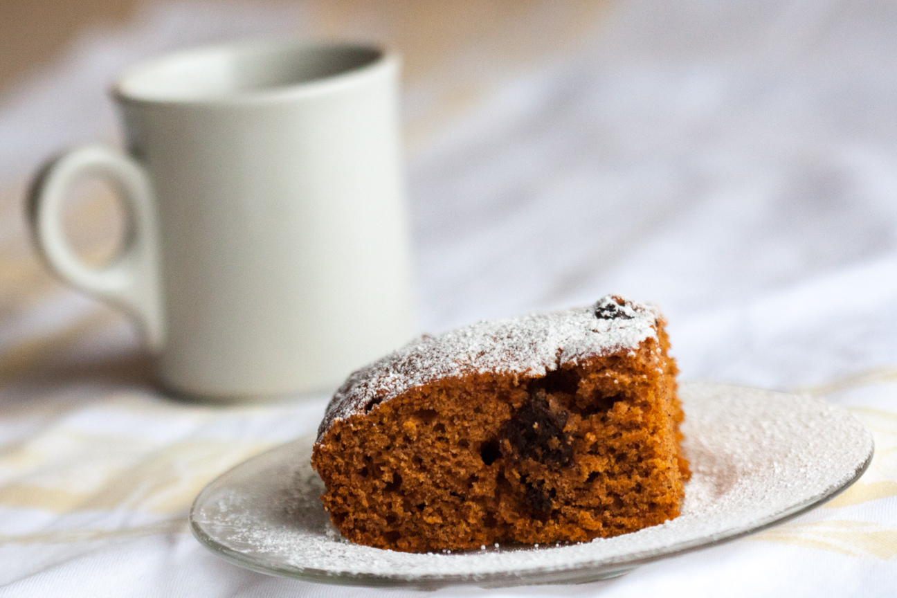 tomato soup cake with coffee mug