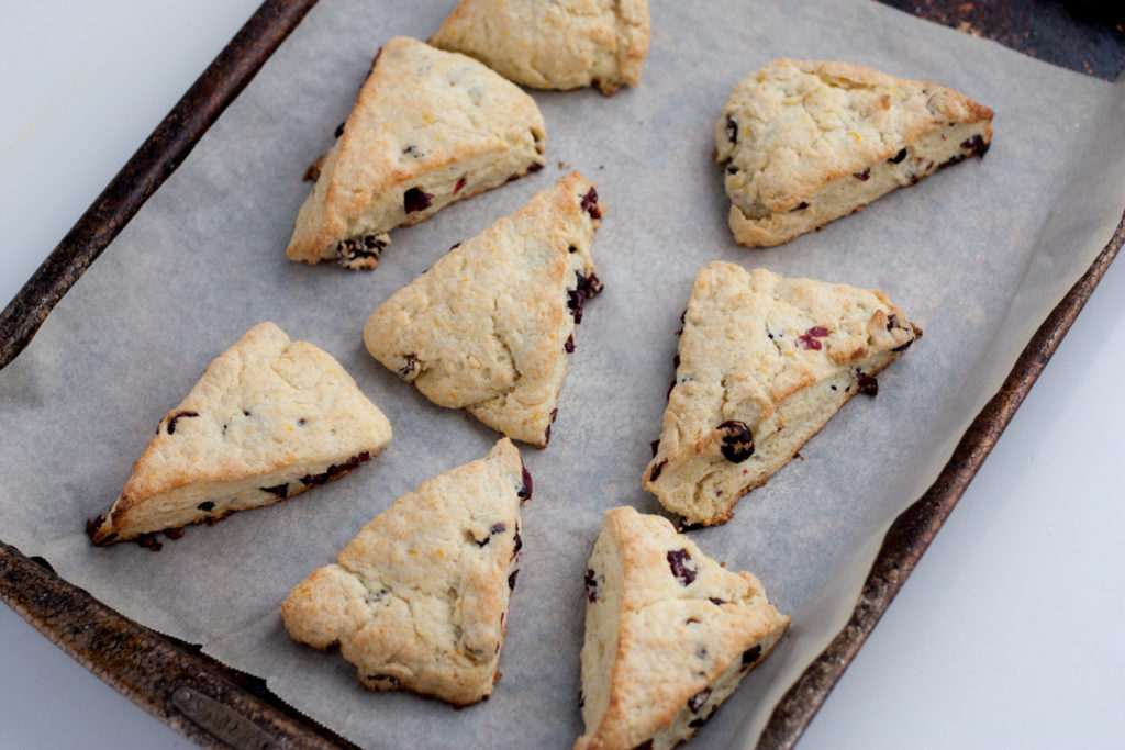 orange cranberry scones on a baking pan