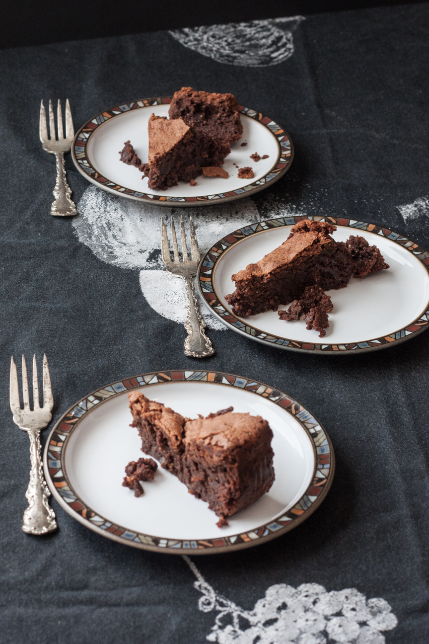 chocolate ginger hazelnut torte on a plate