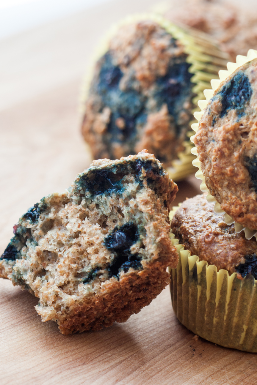 blueberry honey oat muffins close-up