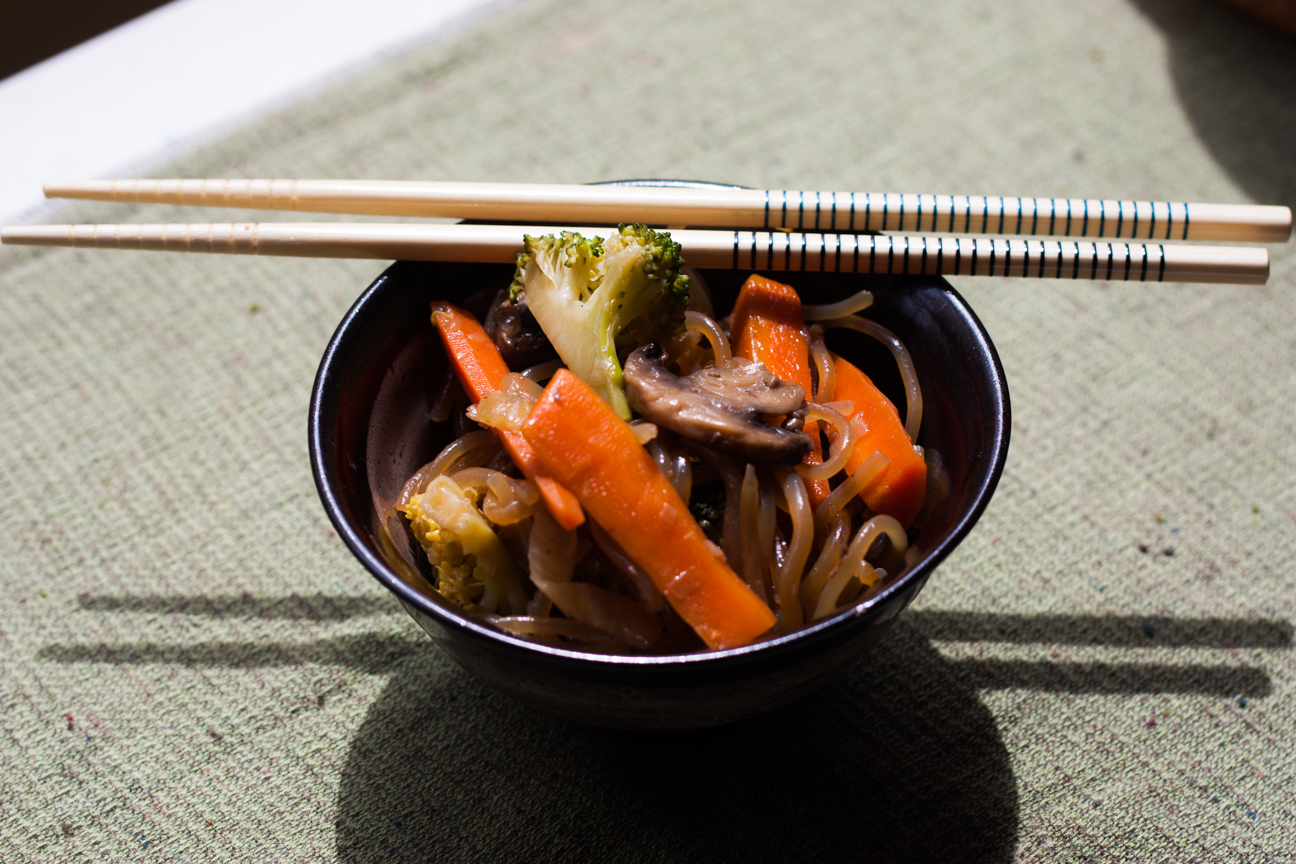 Korean Sweet Potato Noodles with Beef and Vegetables