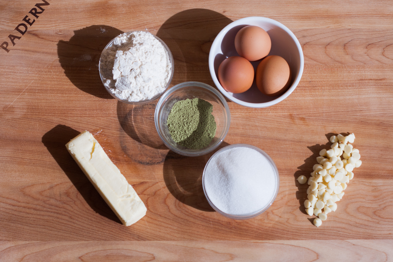 ingredients for matcha and white chocolate cake
