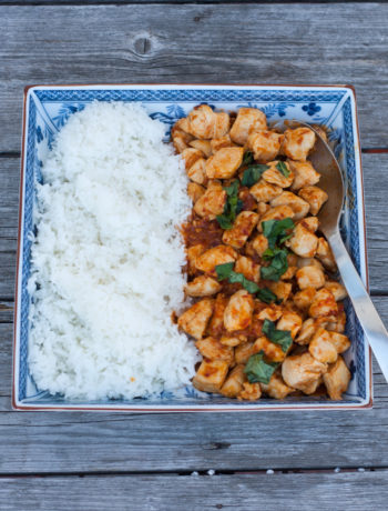 thai chicken with chilies and basil and rice