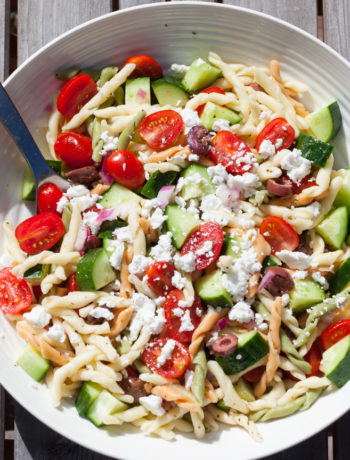 greek horiatiki pasta salad in a bowl