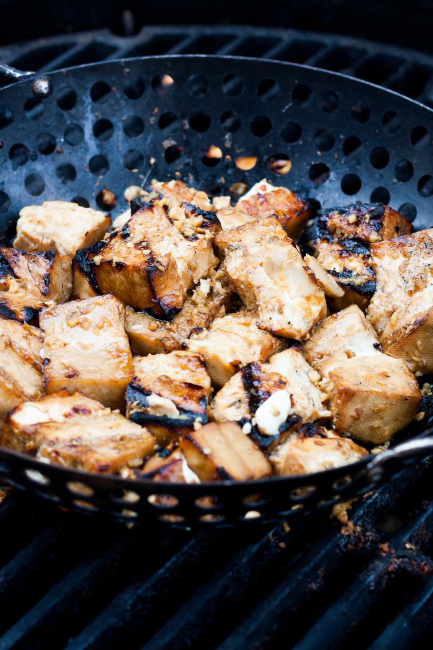grilled tofu with orange soy honey marinade