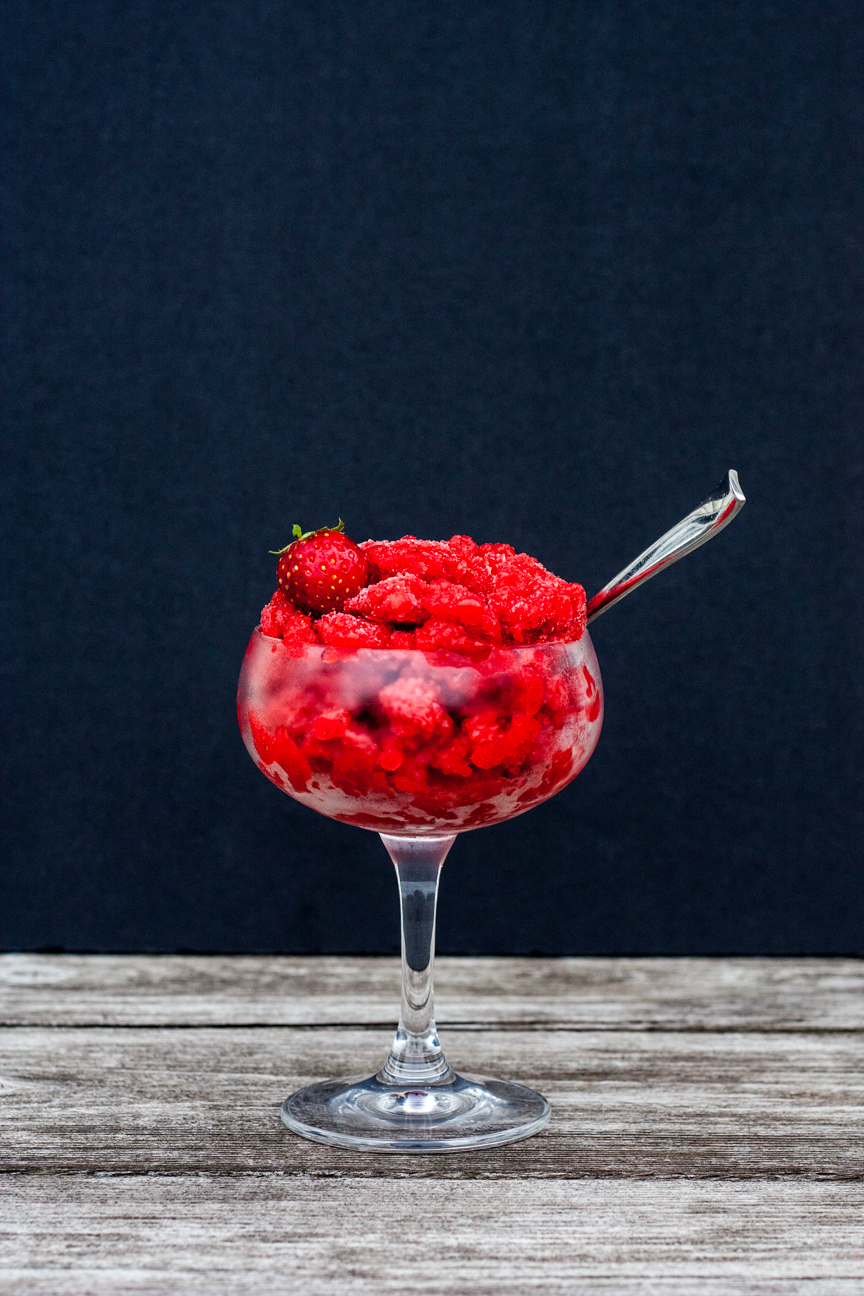 strawberry lime elderflower granita