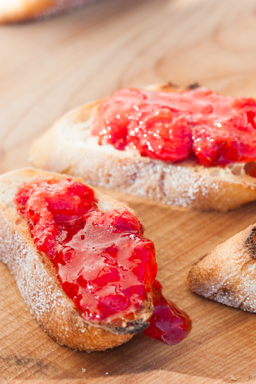 strawberry freezer jam on toast