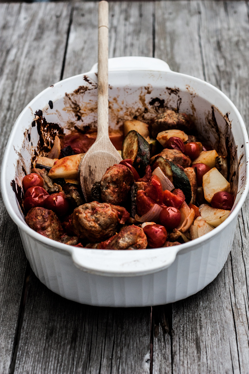 turkey meatballs with roasted vegetables