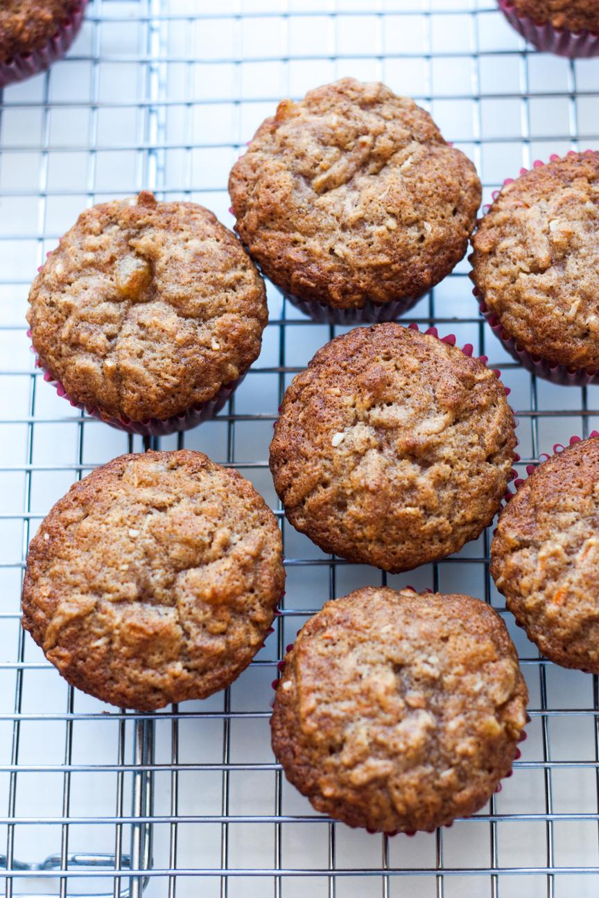 carrot, apricot, walnut muffins