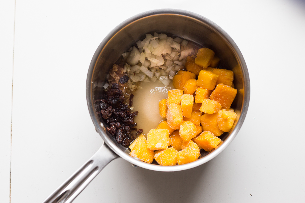 mango chutney ingredients in a pot