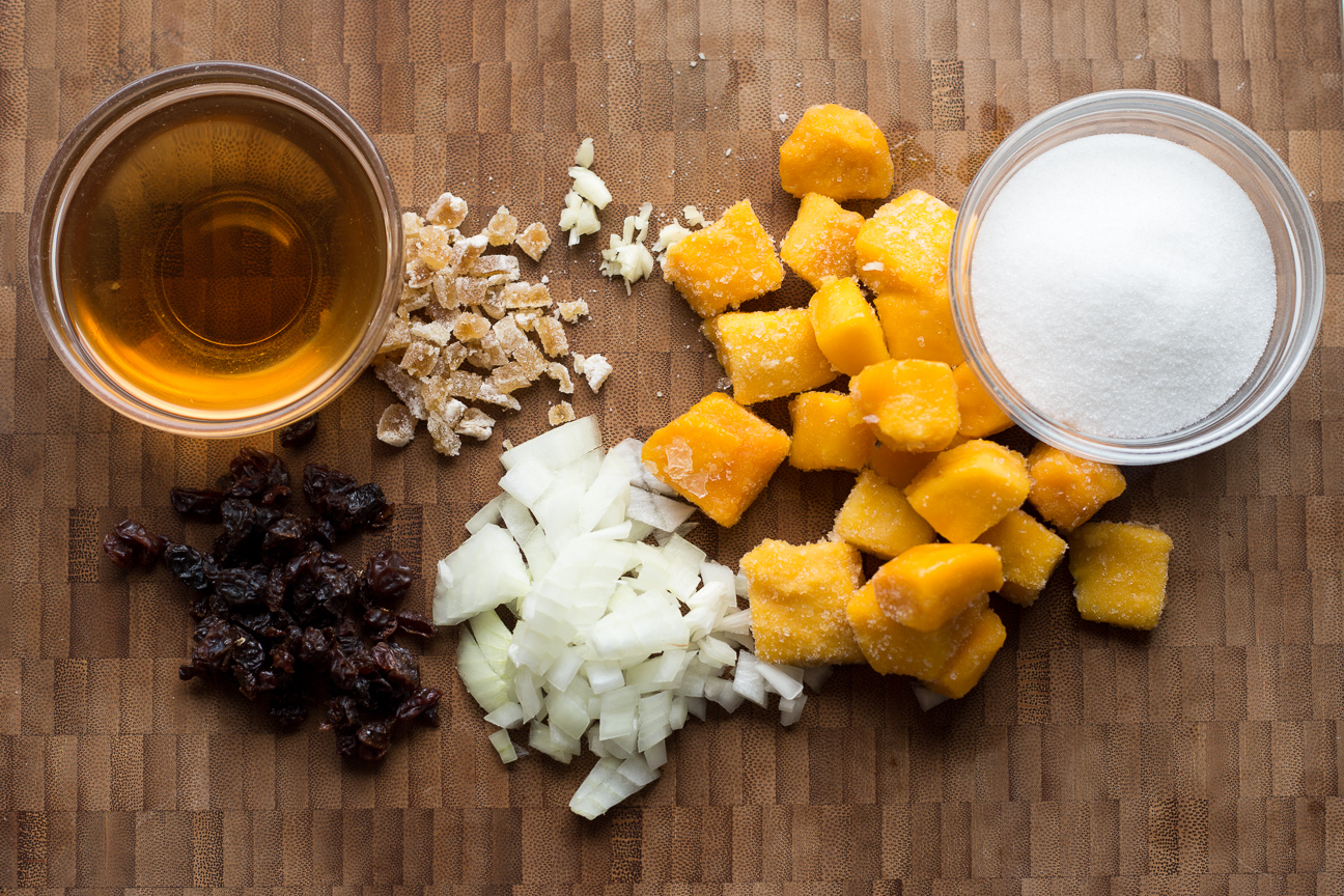 mango chutney ingredients on cutting board