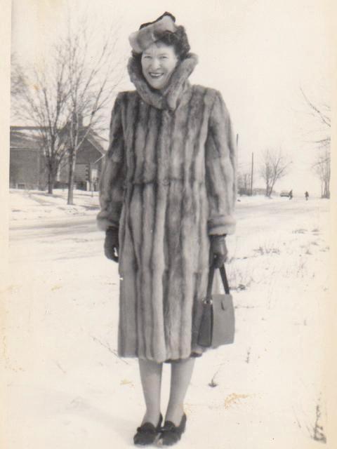 Mum in fur coat in Canada