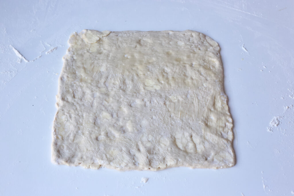 danish pastry dough rolled into a rectangle