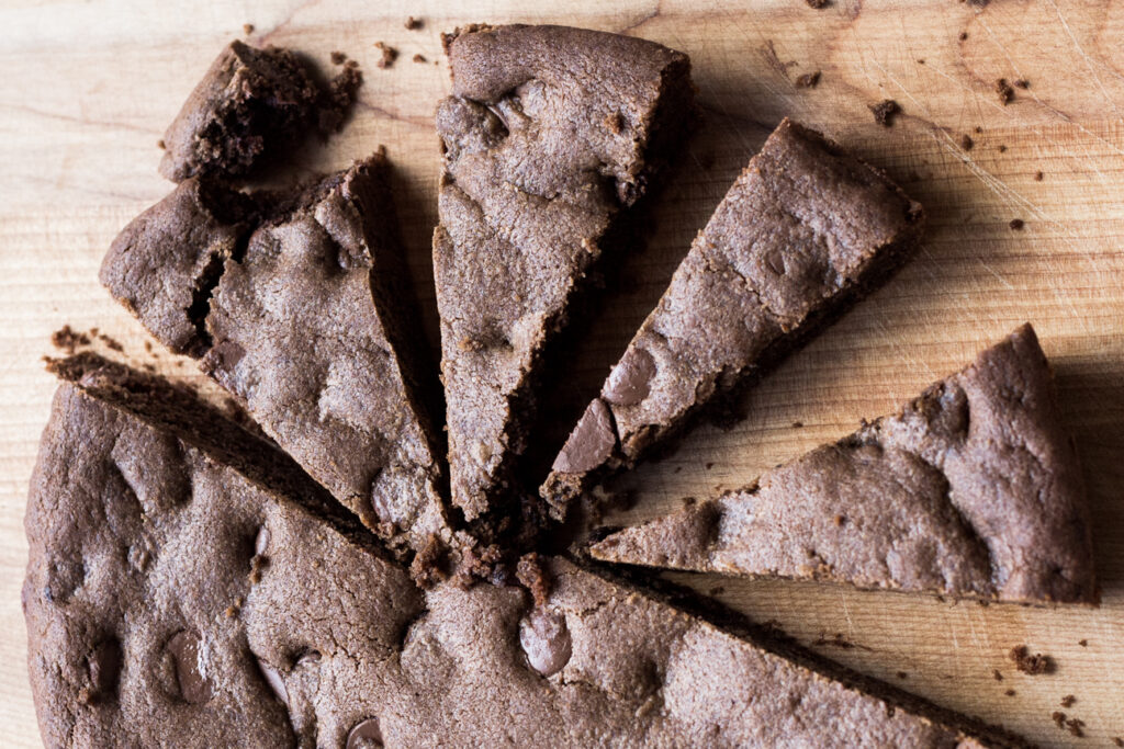 Double Chocolate Skillet Brownie Cookie on cutting board