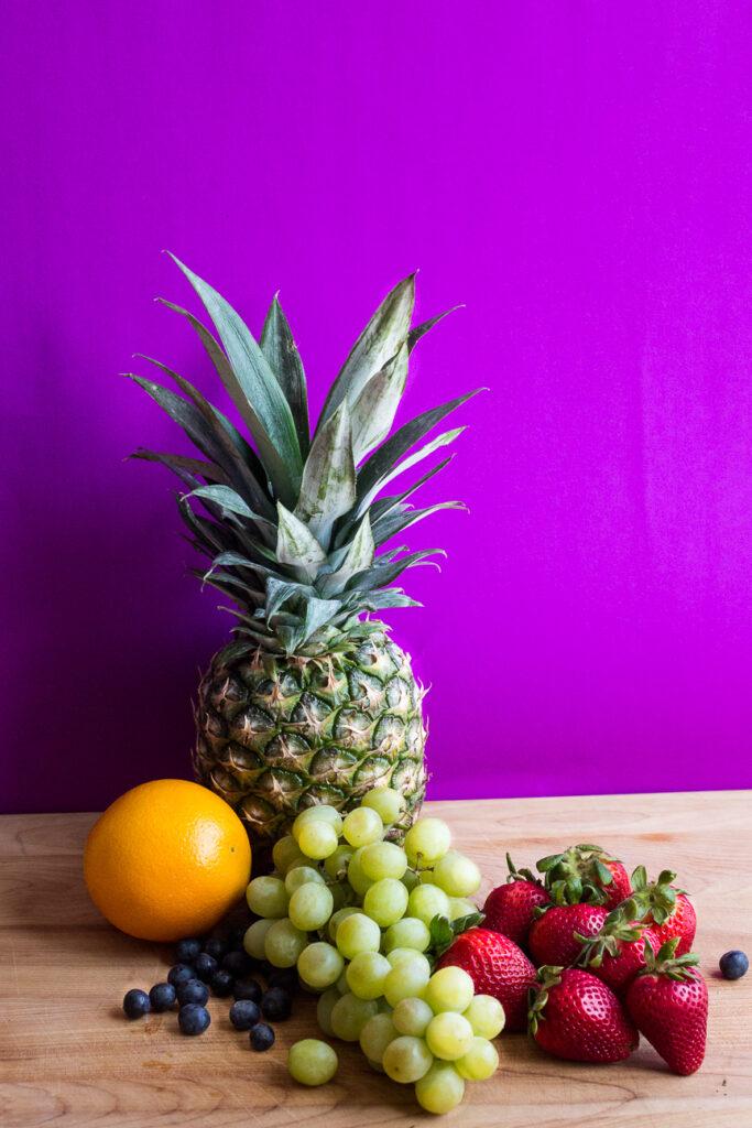 raw fruit for fruit salad