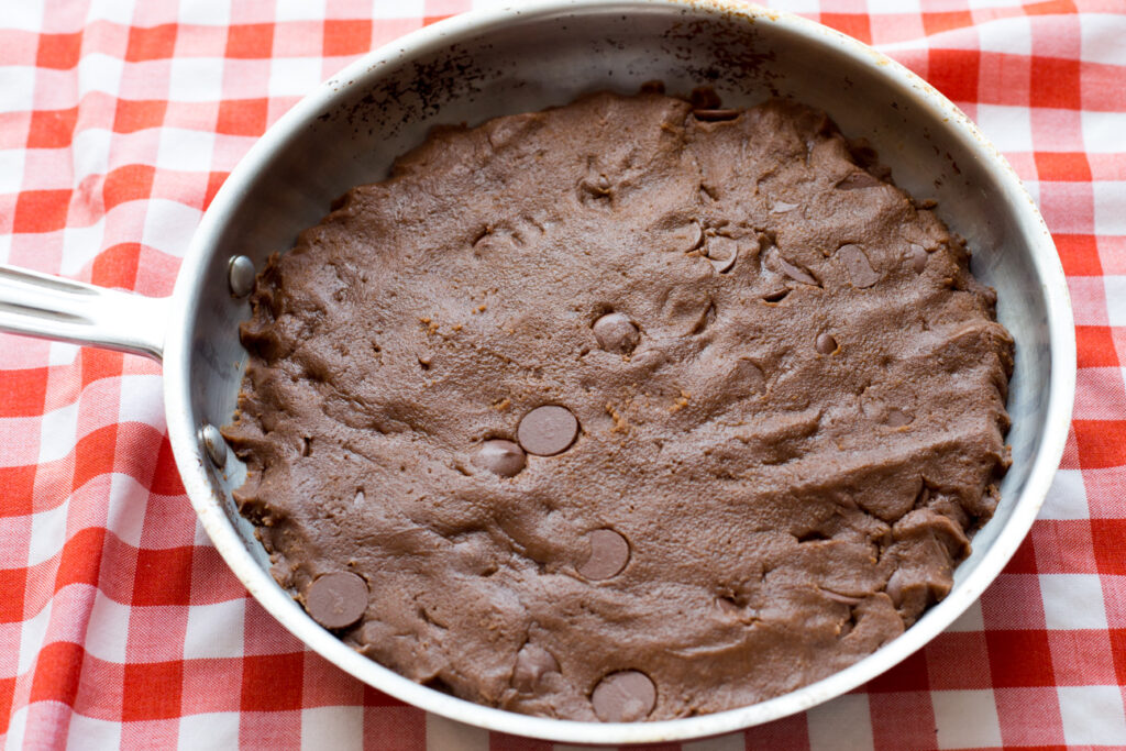 raw cookie dough in skillet