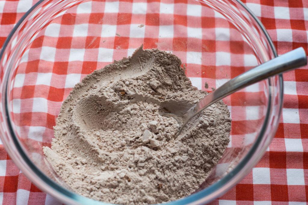 dry ingredients for Double Chocolate Skillet Brownie Cookie