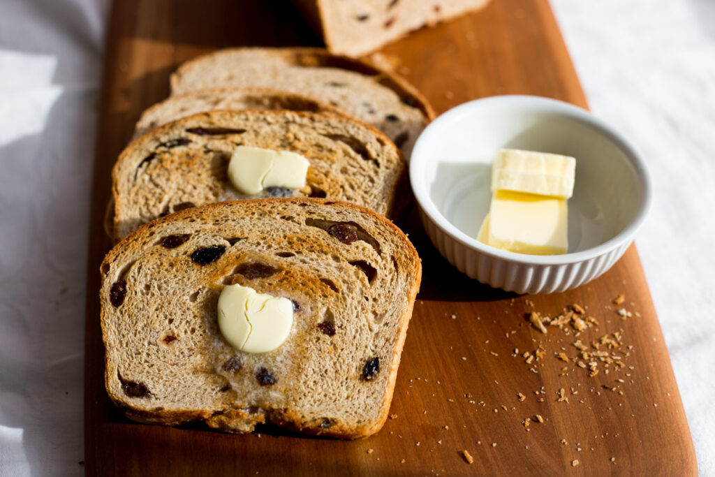 bread and butter on a cutting board