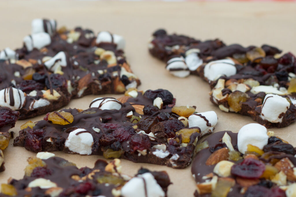 chocolate with dried fruit and nuts