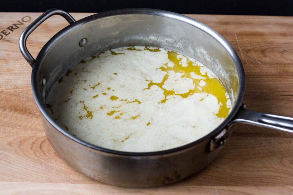 melted butter in a skillet