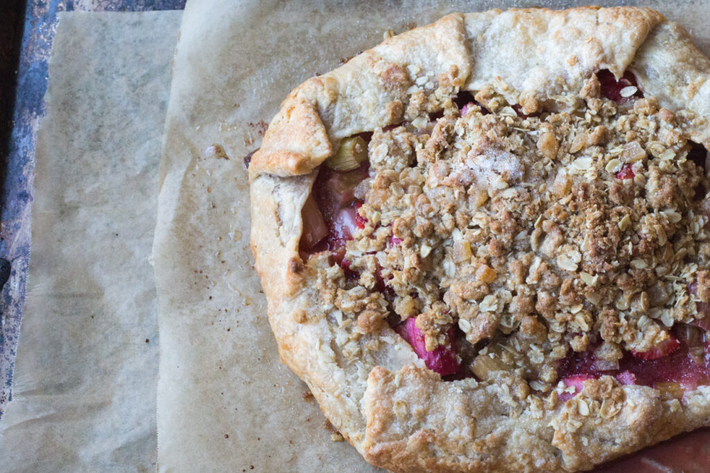 rhubarb strawberry ginger oat crumble galette baked